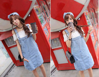 Mini Dresses jean dresses and skirts - 2015 Hot sale new women s jean Braces skirt Loose dress korea style denim casual dress for autumn and winter