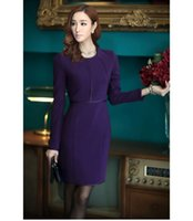 Wholesale 2015 Cotton Flax end commuter OL temperament Slim thick purple long sleeved dress package hip skirt