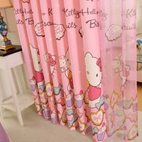 Wholesale 2015 New Pink Polyester Cotton Finished Custom Blackout Curtains for Girls Bedroom Cartoon window Curtain kids