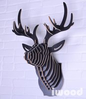art assembly - Hot Sale Europe style wooden D deer head hanging art wall decoration Black Color DIY assembly wood crafts elk head home decor
