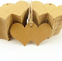 Wholesale Paper Kraft Blank Hang Tags Crafts Wedding Postcards Double heart shape Tag Label