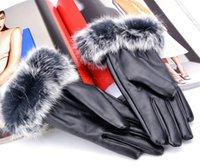 Wholesale 2014 New Winter Gloves Women s Fashion Outdoor Warm Synthetic Leather Fur Gloves High Quality b4