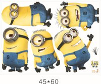 Wholesale Cartoon Despicable Me Minions Wall Decals Stickers Removable Home Decor Decals Sticker Wallpaper Rolls Decoration by DHL