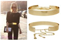 Wholesale Women Full Metal Mirror Waist Belt Metallic Gold Plate Wide Obi Band With Chains