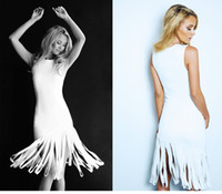 Knee-Length features - 2015 Sexy Elegant Vintage White Lurelly Sleeveless fringe dress features playful tiered asymmetrical fringe at skirt Junior Prom Dresses