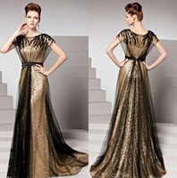 best formal wear - Best Selling Gold Sequins Mermaid Prom Dresses Black Tulle Over Skirts Party Evening Wear Sexy Back Wedding Bridesmaids Formal Gowns