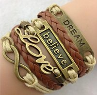 beautiful state - Europe and the United States to the ancient charm bracelet LOVE dream words of faith and fashion beautiful leather bracelet
