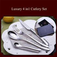 Wholesale New Luxury in1 Cutlery Set Stainless Steel Spoon Fork Table Steak Travel Tableware Gift