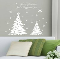 Wholesale lastest new white red choose Merry Christmas Happy new year snowflakes trees cm living room home Wall Sticker Decor