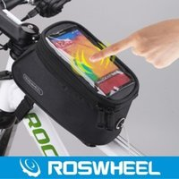 Wholesale 300pcs Roswheel L Waterproof Cycling Bike Bicycle Front Top Tube Frame Bag Pouch PVC for Cell Phone with Headset Jack