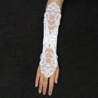 girl white gloves - Ring Finger Bride Gloves Below Elbow Length Wedding Party Bride Gloves In Stock Lace Sequins Girl Gloves Fingerless SHJ