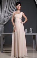 new york dresses - 2016 Fall One Shoulder With Rhinestones Evening Dresses Champagne New York