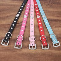 basic crystal shapes - Heart Shaped Crystal Pet Dog Collar with Rhinestone Buckle Dog Collar in PU Leather Size XS S M L colors