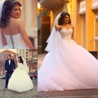 Wholesale 2016 White Crystal Ball Gown Wedding Dresses Pearls Floor Length Corset Wedding Bridal Gowns