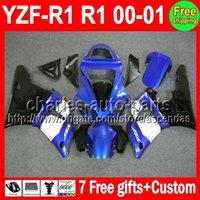 achat en gros de yamaha r1 kit carrosserie blanc-7gifts bleu blanc + Body Pour YAMAHA YZF R1 YZFR1 00-01 YZF1000 C # L648 YZF-1000 YZF-R1 00 01 YZF R 1 2000 2001 Carénage Kit Bleu noir En solde