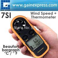 Wholesale Mini Handheld Digital Anemometer Thermometer Air Wind Flow Speed Temperature Meter Beaufort Bar Graph Degree Celsius