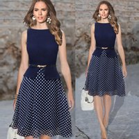 belted tunic dress - 2016 women summer dress Vintage Celeb Belted Polka Dot Party formal dress Wear To Work Tunic evening party Dresses gown bty761