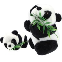 Forrest Animals bamboo toys - Kids Baby Panda Toy Eatting Bamboo Leaves Panda Boy Girl Cute Soft Push Stuffed Fuzz Panda Animal Doll Toys For Children