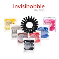 Wholesale invisibobble the traceless hair rings the invisi bobble Plastic Phone Cord Like detangling hair band Colors pieces set DHL