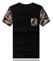 raglan shirt - 2015 New Arrive Raglan Sleeve Floral Printed Men T Shirts Round O Neck Men s Short T Shirt With Pocket Large Size M XL XL