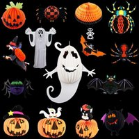 Wholesale 2015 new Funny Halloween Bar Decoration props ghost witch spider bats Charm Strap lantern