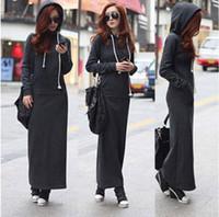 achat en gros de hoodie de la fourrure pour les femmes-Automne Hiver Femmes Noir Gris Robe-pull Réchauffez Fur Fleece Hoodies Manches longues Slim Maxi Robes SML XL Sweatshirt robe