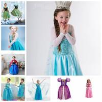 Wholesale Whole Sale Princess Clothes Frozen Princess Dress Elsa Anna Dresses Costume Snow White Princess Cosplay Kids Party Gowns Cheap Children