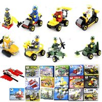 Wholesale 2015 fight inserted blocks assembled children s educational toy car model car demining lunar mixed batch of Military Engineering