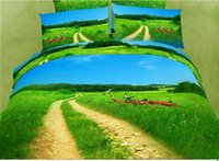 Wholesale 2015 Beautiful Green Grass And Tree Print Piece Duvet Cover Bedding Sets Cotton Countryside Road And Blue Sky Scenery