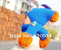 Wholesale 2013 new Korean fashion star labeling children cap scarf Baby winter warm hat scarf four color