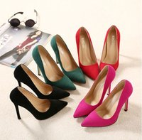 Wholesale Sexy Pointed Toe Bottom High Heels Shoes Women Pumps Green Wedding Shoes Valentine Shoes Red Sole Shoes Ladies