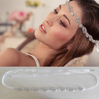 prom hair accessories - Stylish Alloy Rhinestone Bridal Headbands Crystal Ribbon Tie Back Prom Party Handmade Hair Accessory Real Photos