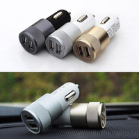 Wholesale Metal A Dual USB Car Charger Alloy Aluminum Metal Port Universal Fast Charging Adapter For Ipone Ipad HTC Samsung Galaxy Note
