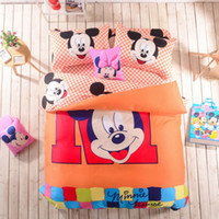 Wholesale Plaid Mickey mouse cotton bedding set king queen full size duvet quilt cover bed sheet pc bed linens comforter sets