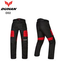Wholesale NEW motorcycle pants men pantalones moto pants motocross red blue black with knee guards DUHAN D02 M L XL XXL
