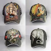 antique baseball hats - 3D Tiger Elephant Print Tattoo Hip hop cap Personality antique retro chapeu casquette baseball cap adjustable casual hats