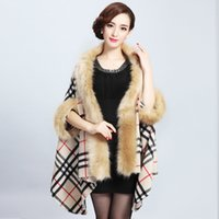 Wholesale New Women Faux Fur Coat Female Large Size Overcoat Lady Winter Loose Cape Poncho Cloak Warm Coats Outerwear