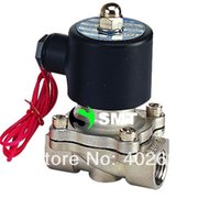 Wholesale 2pcs quot Stainless Steel Electric Solenoid Valve VDC Normally Closed FKM S160 DC24V AC110V or AC220V