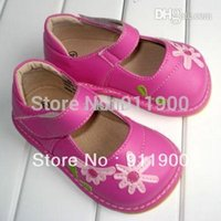 Wholesale 1 Y ColorsBaby Leather Shoes Squeaky Shoes Toddler Girl Squeaky Mary Jane with White Daisy Flowers Shoes