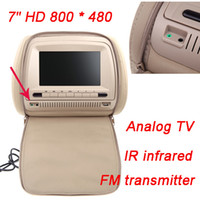 Wholesale 2pcs quot X480 LCD Car DVD Headrest Monitor Player Analog TV Bits Games IR Infrade FM Transmitter MP3 USB SD Remote Control