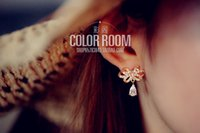 Wholesale 925 earpins drop earrings South Korea accessories aristocratic temperament micro inlay zircon bowknot studs