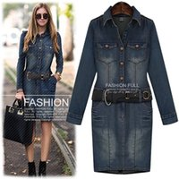 Wholesale Casual Mini Skirt Outfits - Large size ladies' fat mm2016 autumn outfit new denim skirt in Europe and the United States package hip fat sister show thin long dress