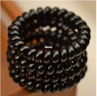 Wholesale Women Ladies Girls Hair Bands New Black Elastic Rubber Telephone Wire Style Hair Ties Plastic Rope Hair Accessories