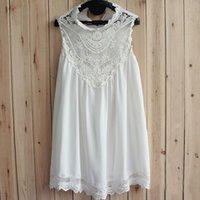 ladies chiffon fashion dresses - 2015 new fashion lady dress lace stitching collar white short paragraph chiffon dress