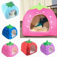 outdoor dog kennels - Soft Warm Strawberry Pet Bed House Lovely Cat Dog Sponge Nest Sofa Kennel Size quot L quot ZZD L