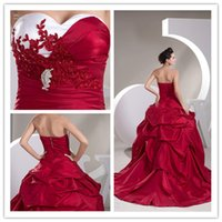 Wholesale Sexy Strapless Red Applique Beaded Satin A Line Wedding Dresses Sweetheart Zipper Sweep Train Ruffle Wedding Gowns Bridal Gown