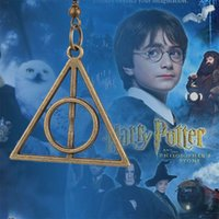 Wholesale HP Harry Potter and the Deathly Hallows earrings Horcrux Triangle pendant Drop Earring ear cuff for women Fashion jewelry