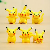 Wholesale 6designs set cartoon mini Picacho Toppers Doll PVC Action Figures Toy Fairy Garden Miniatures Craft home decor for Christmas Birthday Gift