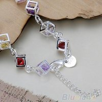 Wholesale Women s Silver Plated Colorful Rhinestone Bangle Bracelet