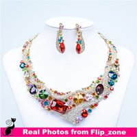african wedding favors - Colorful African Costume Bridal Jewelry Crystal Rhinestones Bride Party Wedding Favors Jewellery Sets Necklace Diamond Bridal Accessories